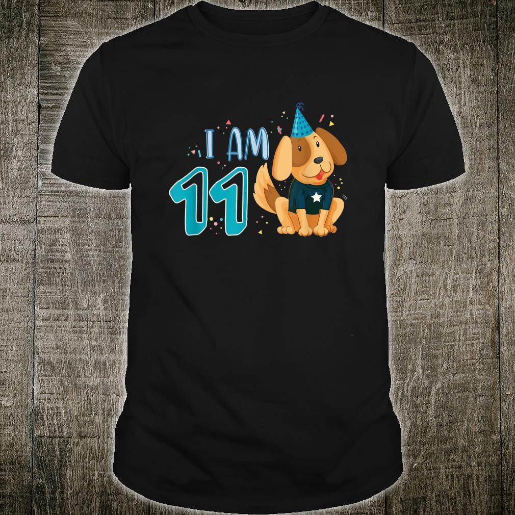 11 Geburtstag Junge Hund Welpen Kinder Ich bin 11 Shirt