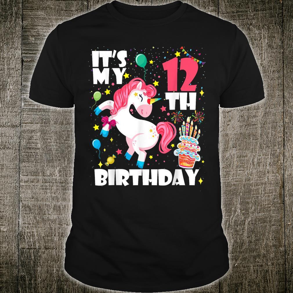 12 Jahre alt 12 Geburtstag Einhorn Tupfer Girl Party Shirt
