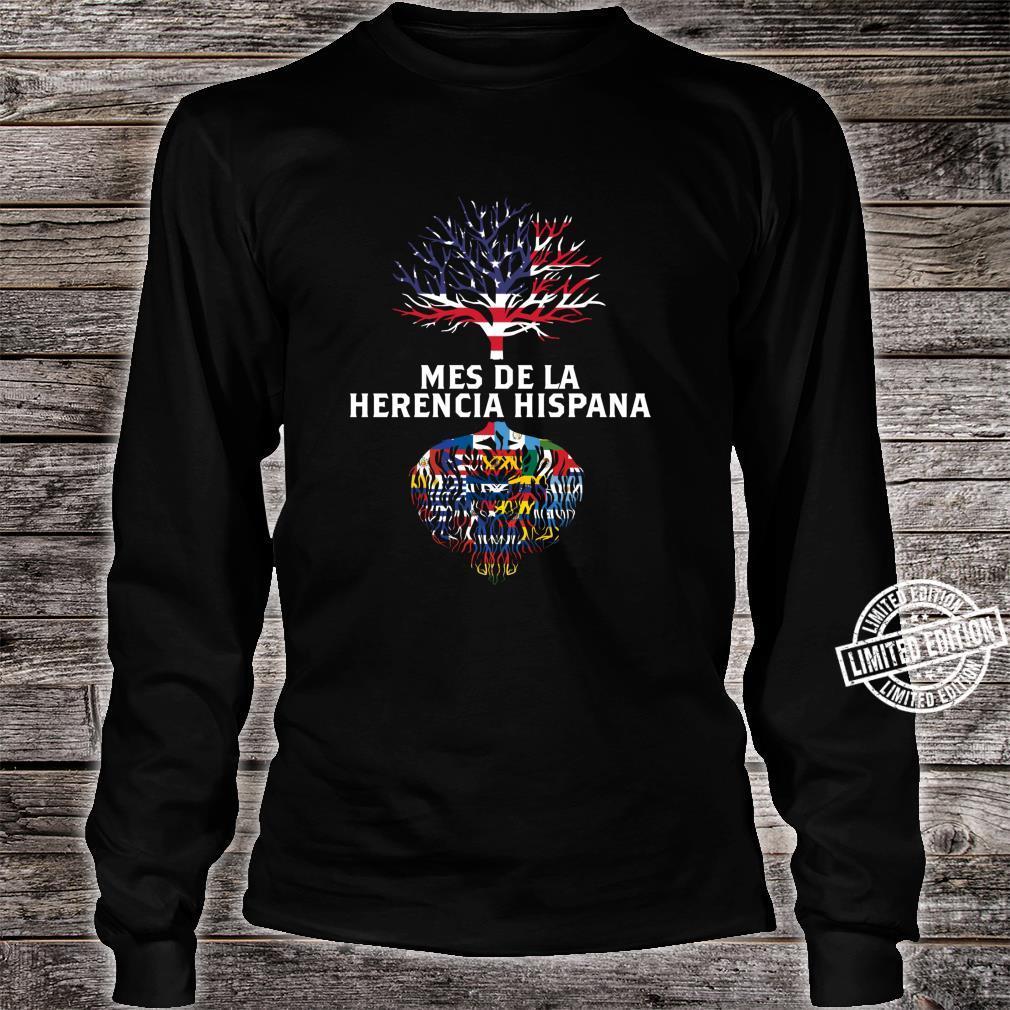 Amerikanische Flagge Baum Wurzeln Mes De La Herencia Hispana Shirt long sleeved