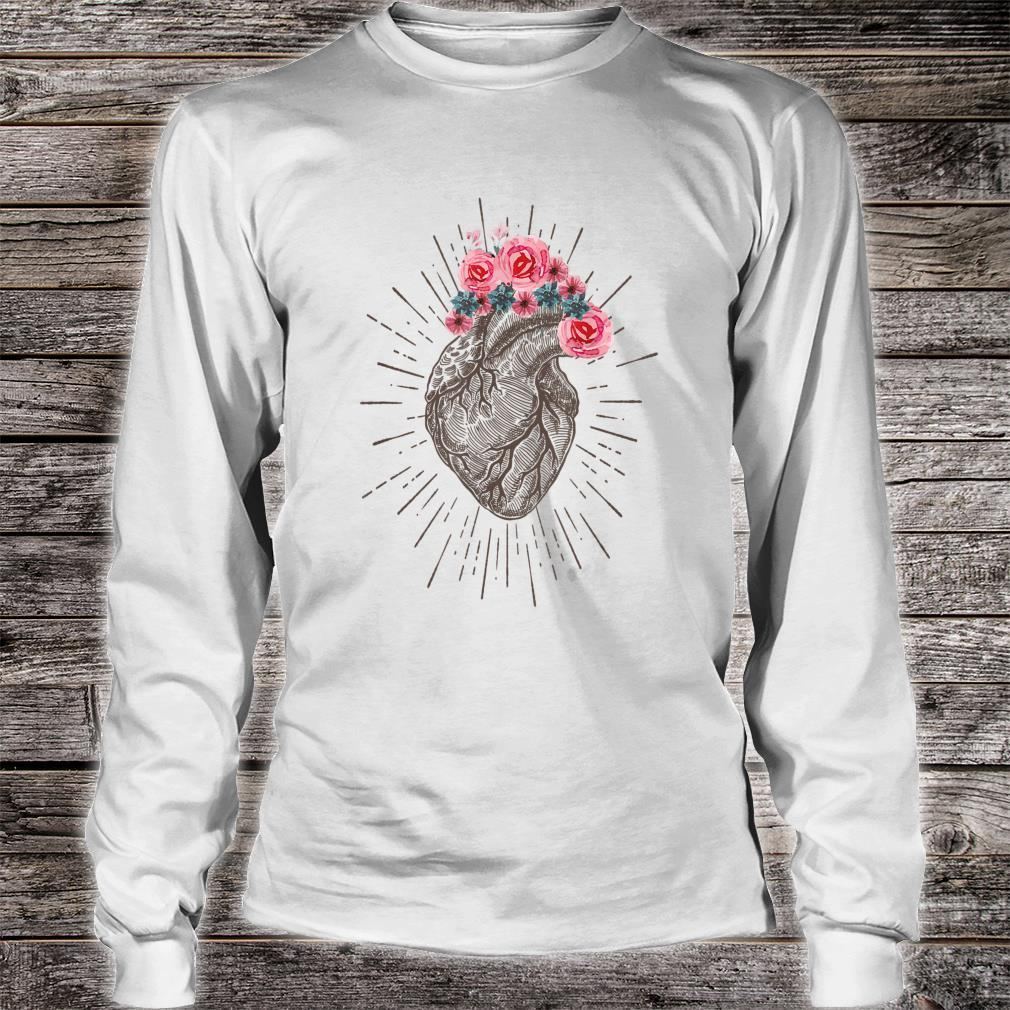 Anatomical Heart Retro Human heart for Cardiologists Shirt long sleeved