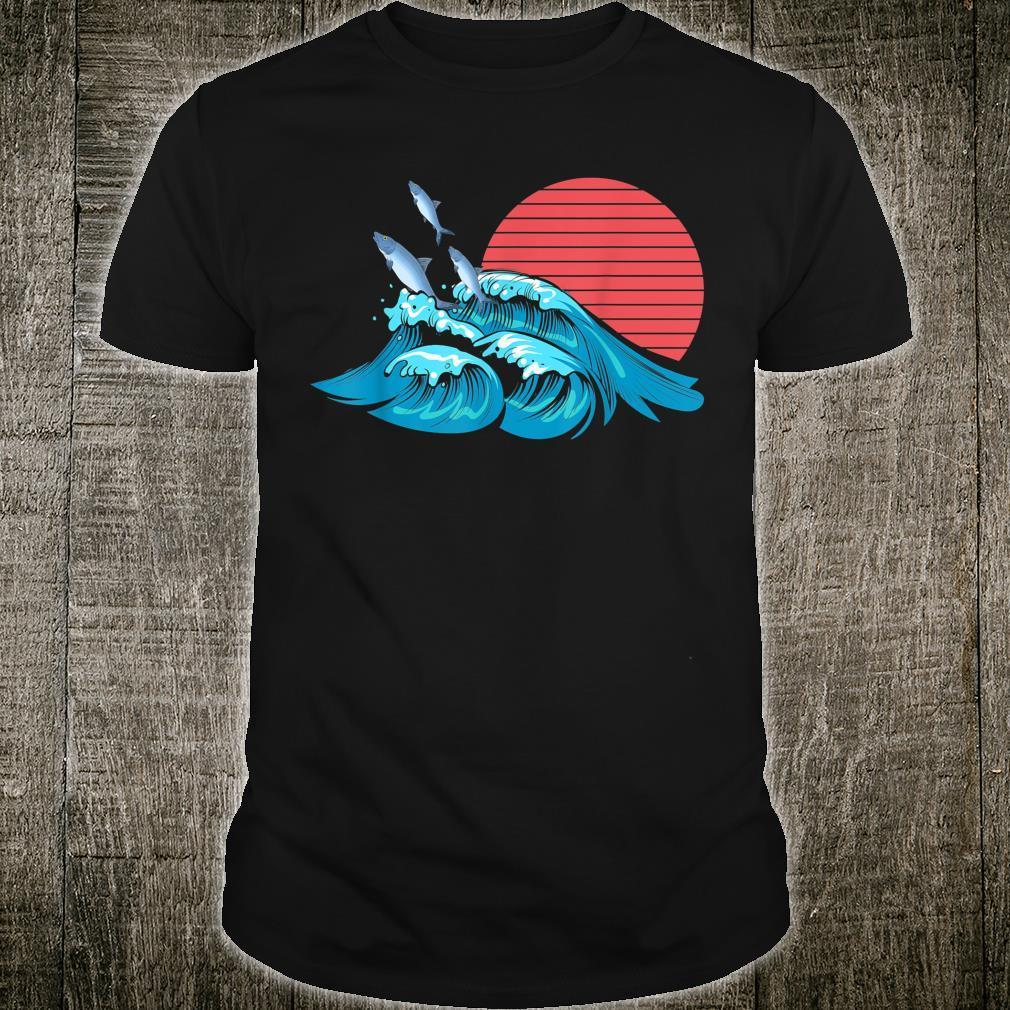 Angler Fischzüchter Meerestier Retro Wellen Fisch Shirt