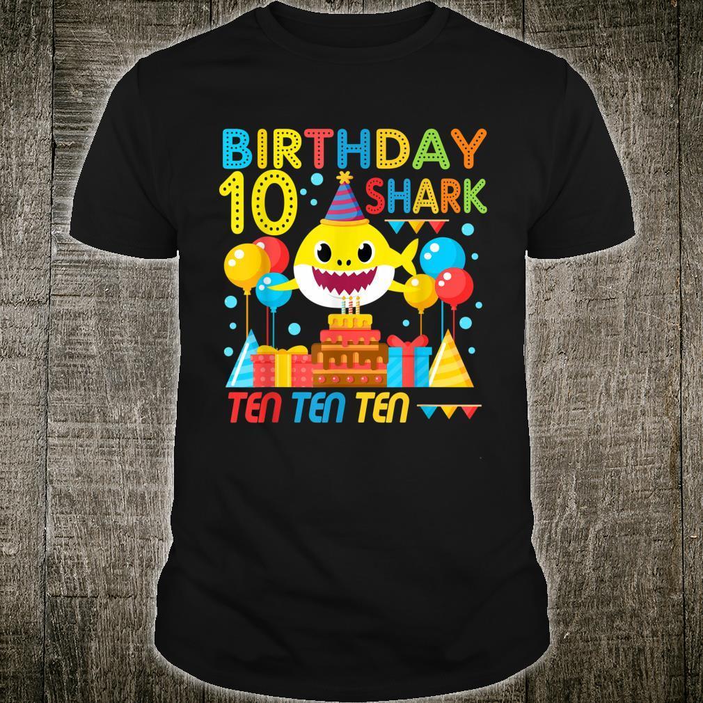 Baby Shark 10th Birthday Boy Girl 10 Year Old Shirt