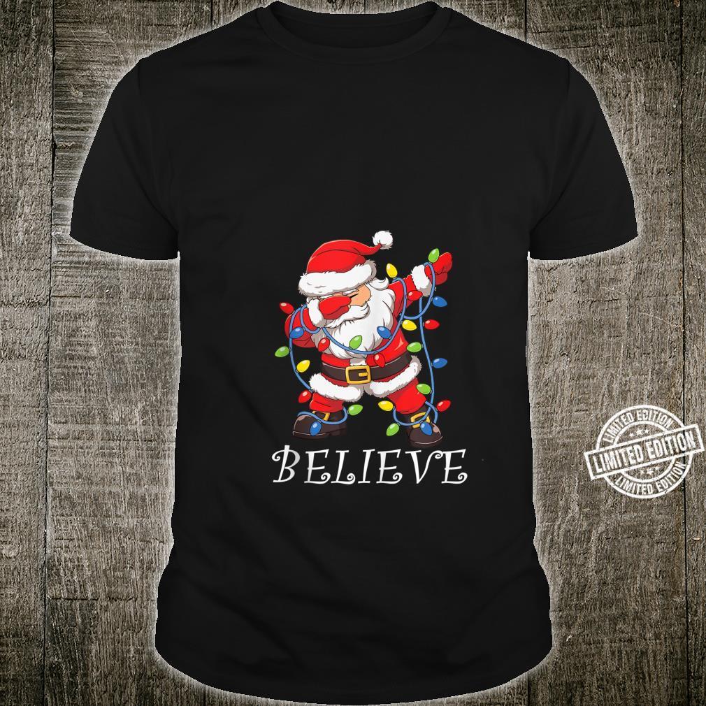 Believe Dabbing Santa Christmas Christmas Tree Lights Shirt