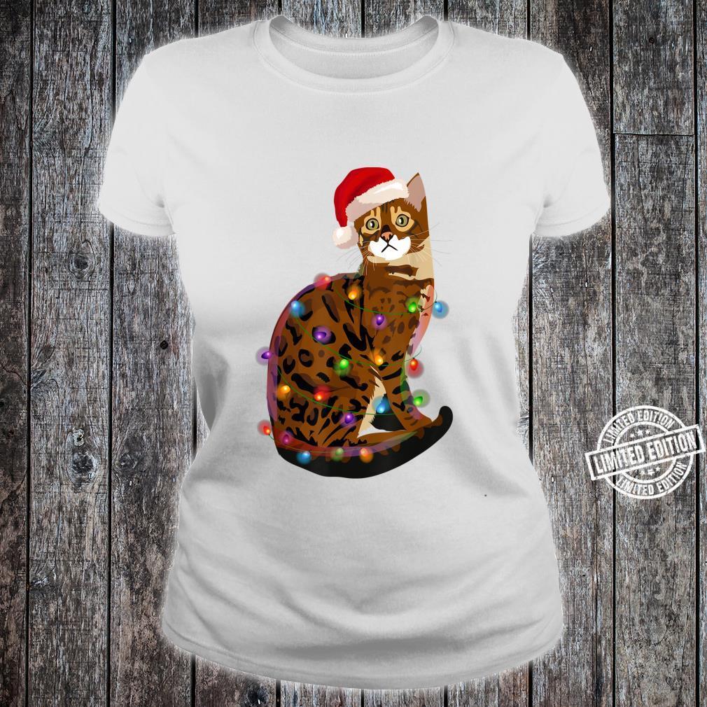 Bengal Cat Christmas Lights Xmas Cat Shirt ladies tee