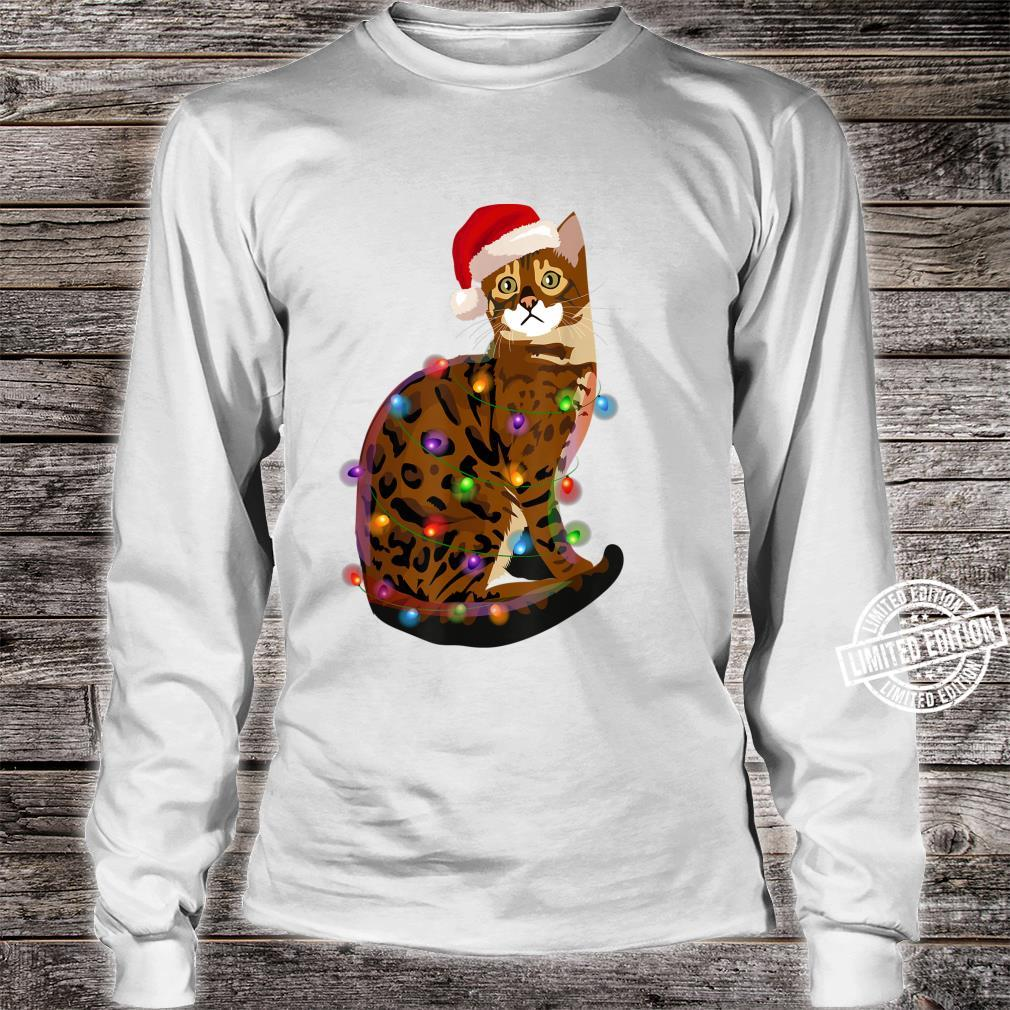 Bengal Cat Christmas Lights Xmas Cat Shirt long sleeved