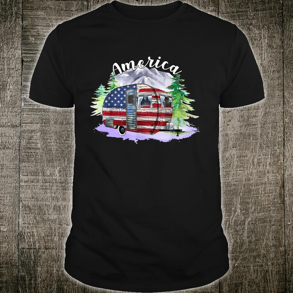 Camping Trail American Flag 4th Of July Camping Hiking Shirt