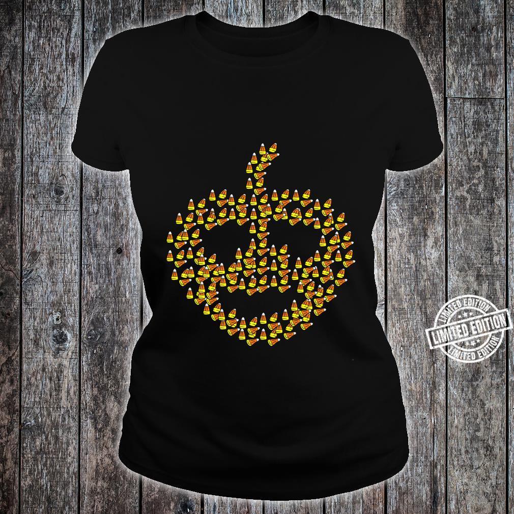 Candy corn in pumpkin shape Halloween Shirt ladies tee