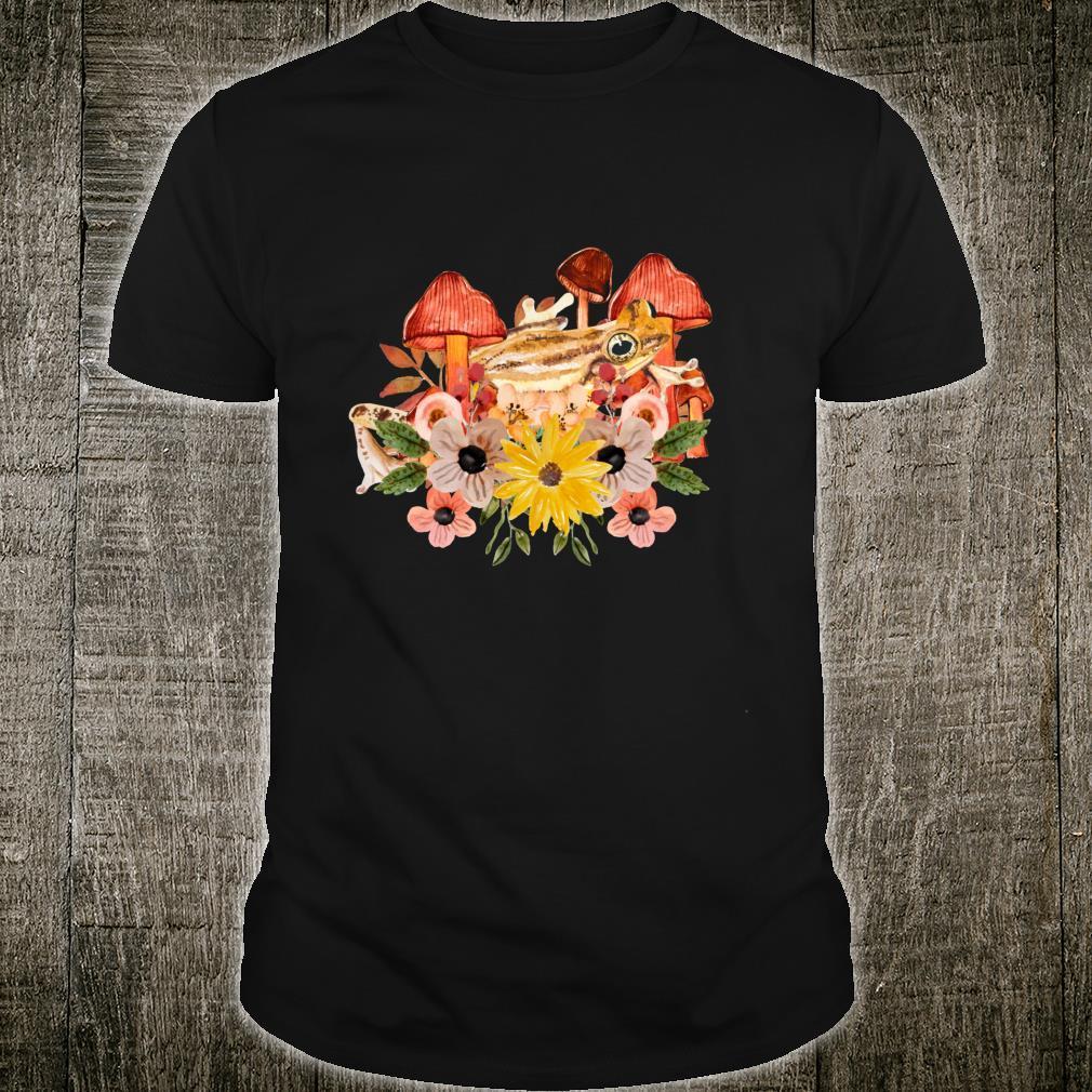 Cottagecore Aesthetic Frog Cute Mushrooms & Flowers Art Shirt
