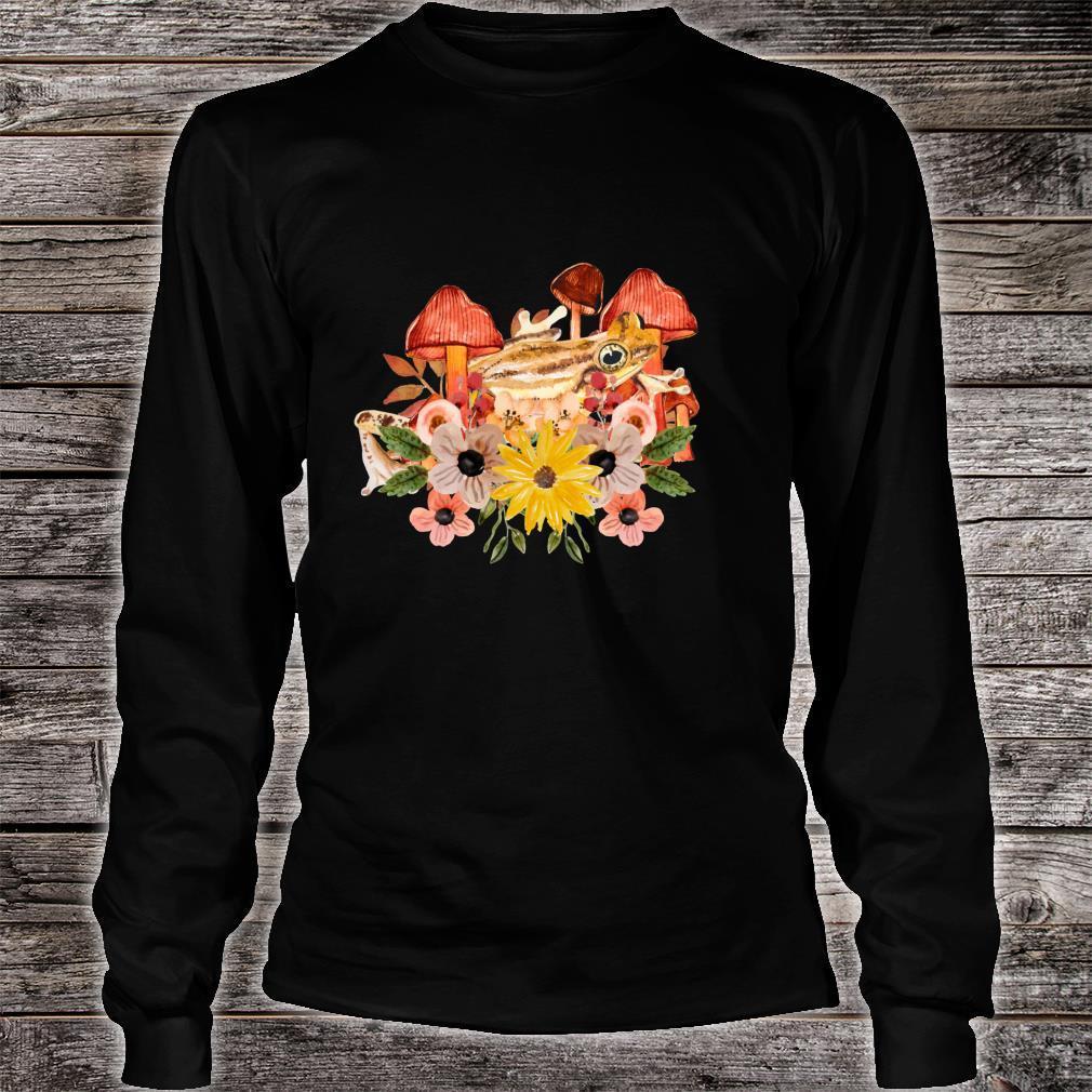 Cottagecore Aesthetic Frog Cute Mushrooms & Flowers Art Shirt long sleeved