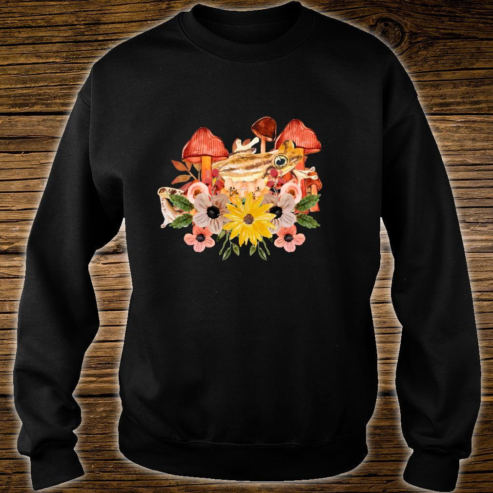 Cottagecore Aesthetic Frog Cute Mushrooms & Flowers Art Shirt sweater