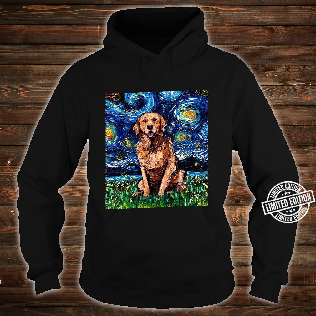 Dark Coat Golden Retriever Starry Night Dog Art by Aja Shirt hoodie