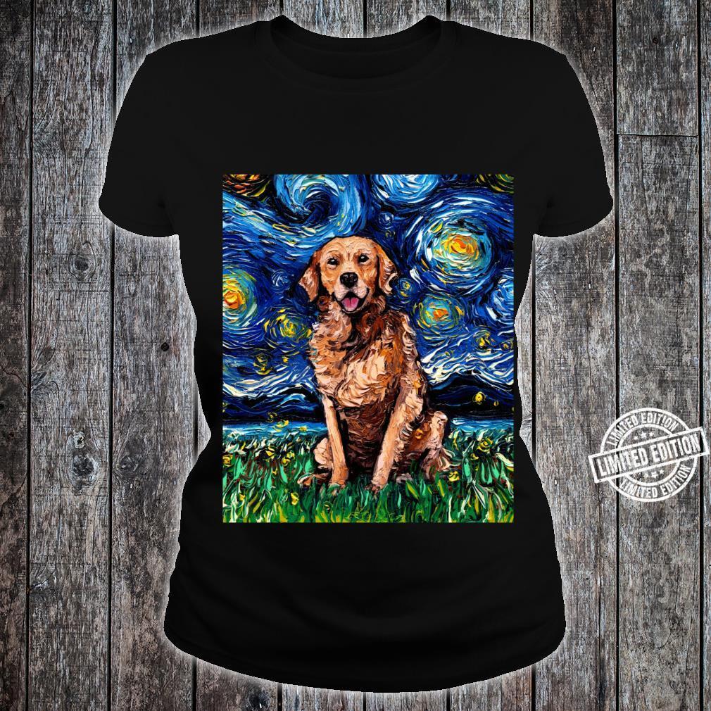 Dark Coat Golden Retriever Starry Night Dog Art by Aja Shirt ladies tee