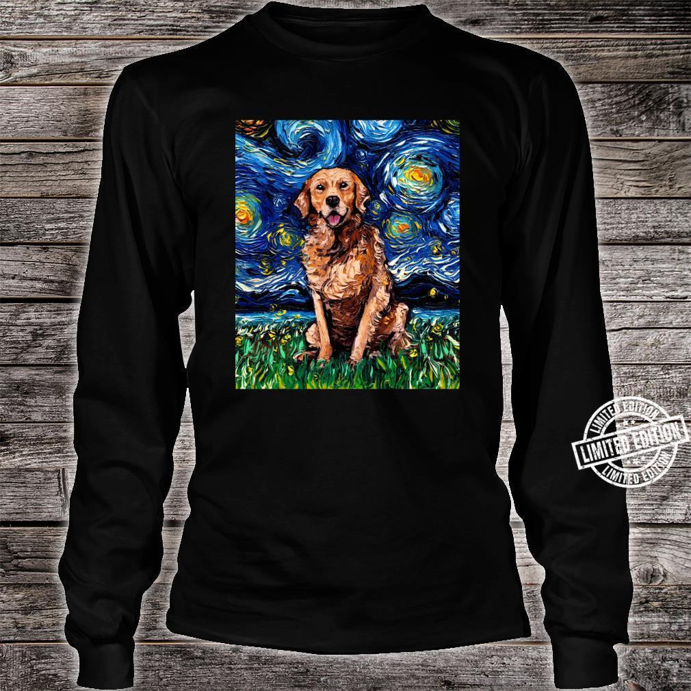 Dark Coat Golden Retriever Starry Night Dog Art by Aja Shirt long sleeved