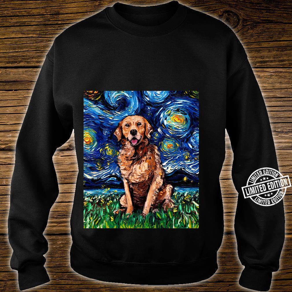 Dark Coat Golden Retriever Starry Night Dog Art by Aja Shirt sweater