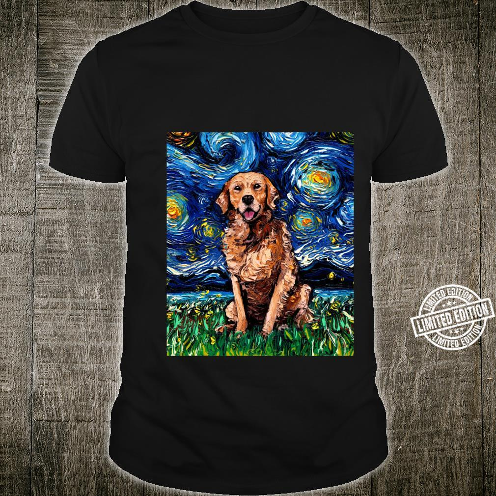 Dark Coat Golden Retriever Starry Night Dog Art by Aja Shirt