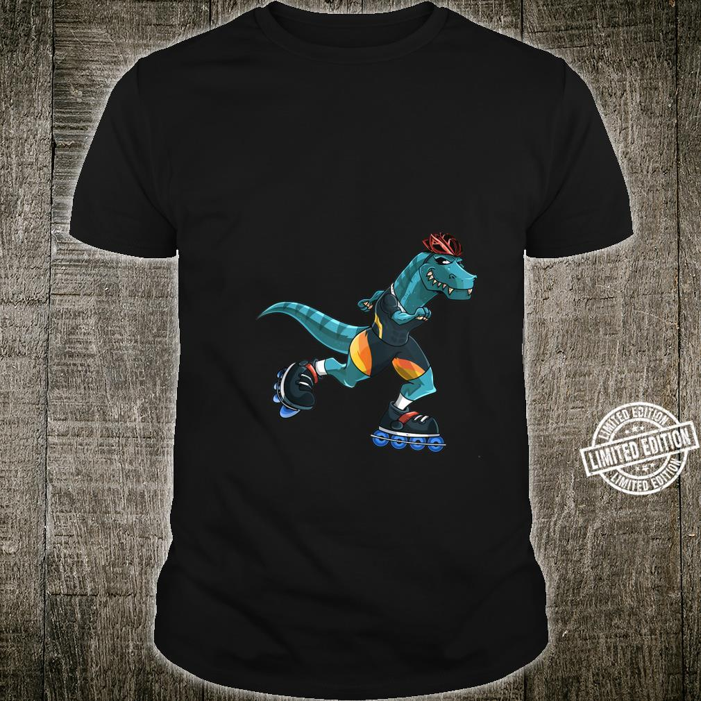 Dino Rides On Rollers TRex Roller Skater Skating Boys Shirt