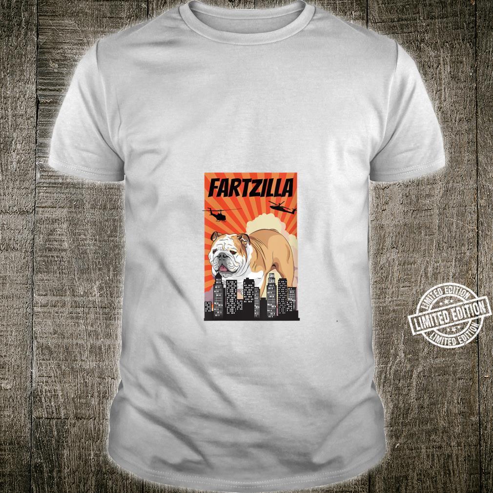 English Bulldog Fartzilla Japanese Inspired Design Shirt
