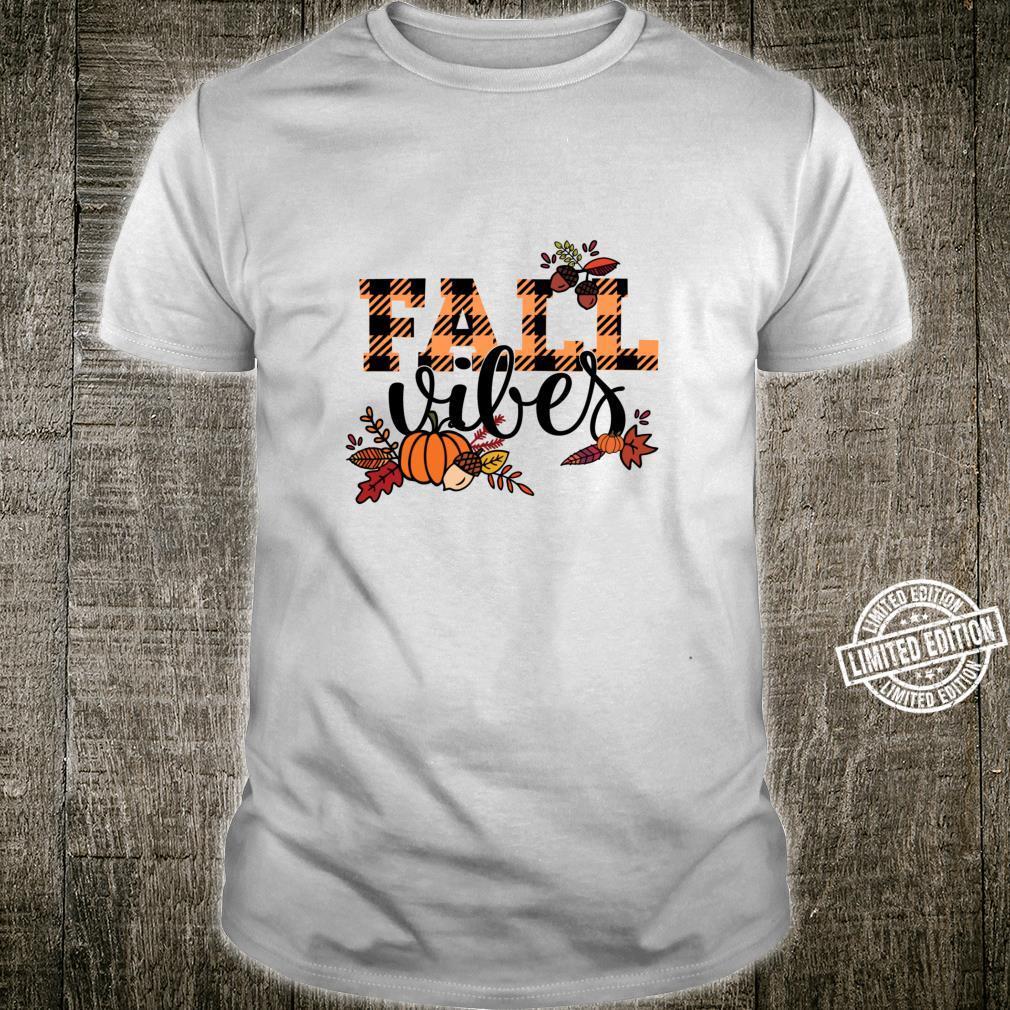 FALL VIBES Fall Harvest Pumpkins Fall Leaves Buffalo Plaid Shirt