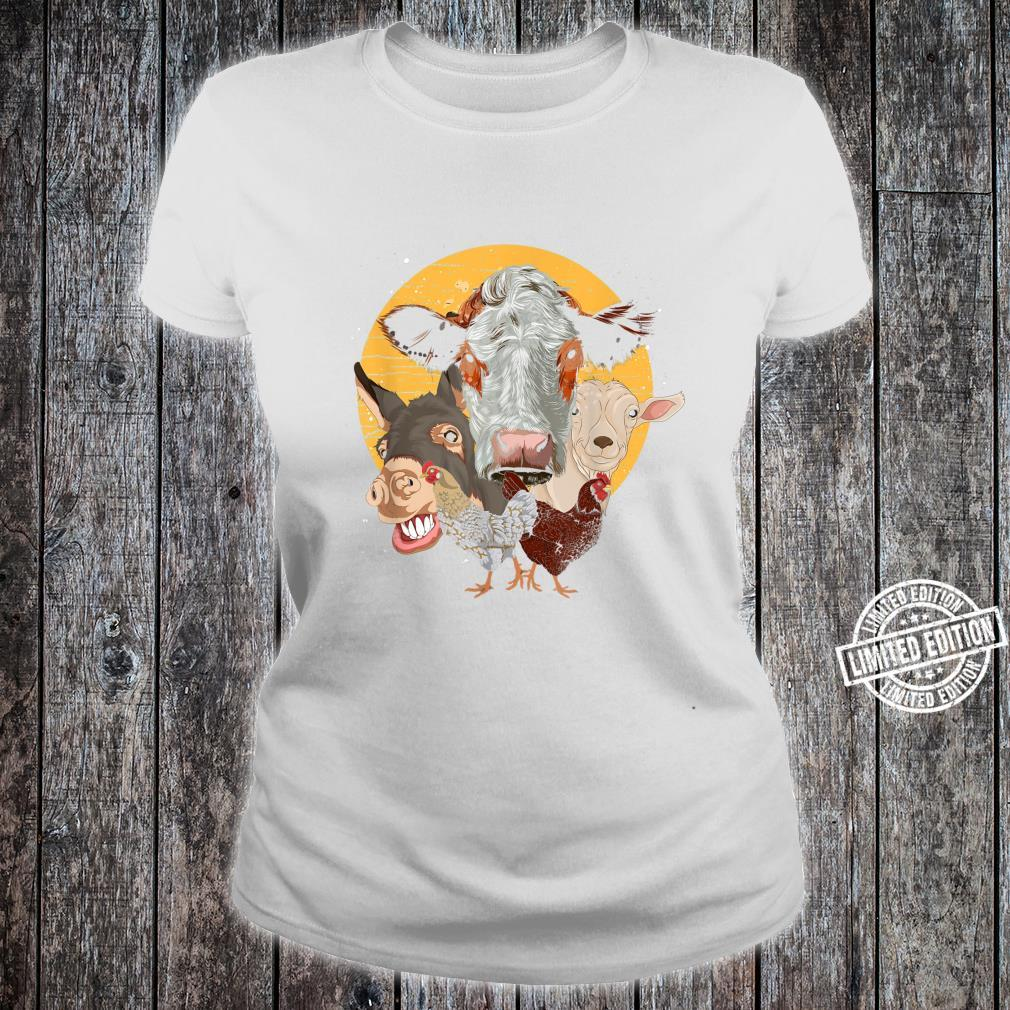 Farm Animal Donkey Goat Cow Chicken Farm Animal Shirt ladies tee