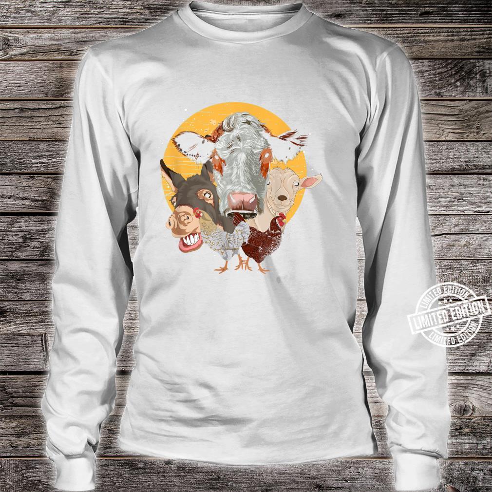 Farm Animal Donkey Goat Cow Chicken Farm Animal Shirt long sleeved