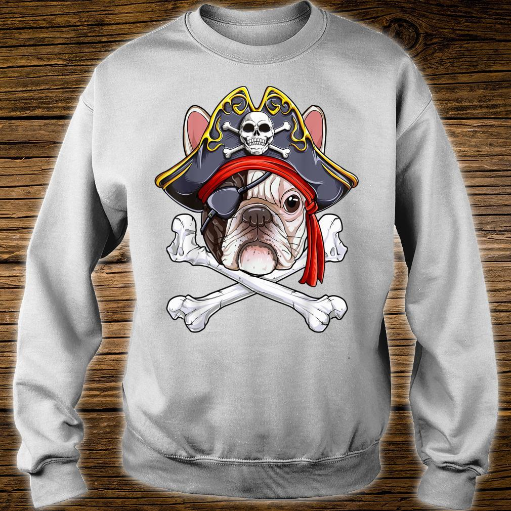 Französische Bulldogge Pirat Jolly Roger Flagge Totenkopf gekreuzte Knochen Geschenk Shirt sweater