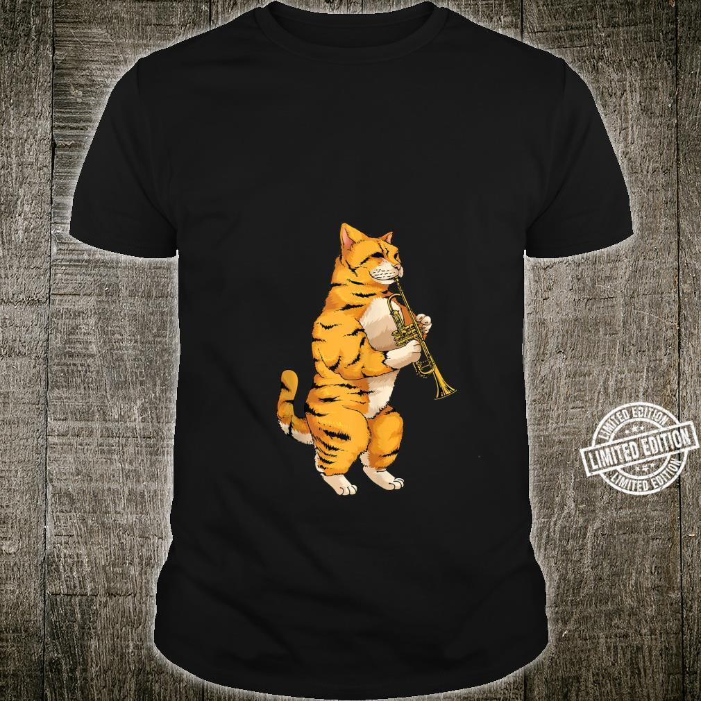 Funny Cat Playing Cornet Cool Animal Wind Musician Shirt