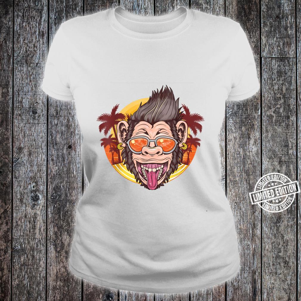 Funny Chimpanzee Face Distressed Tropical Chimp Design Shirt ladies tee