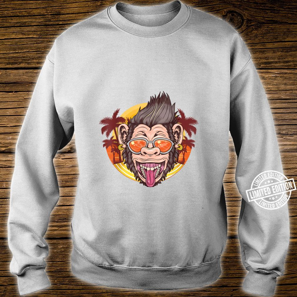 Funny Chimpanzee Face Distressed Tropical Chimp Design Shirt sweater