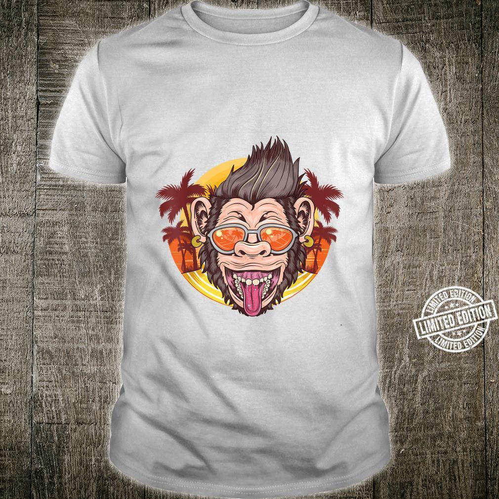 Funny Chimpanzee Face Distressed Tropical Chimp Design Shirt