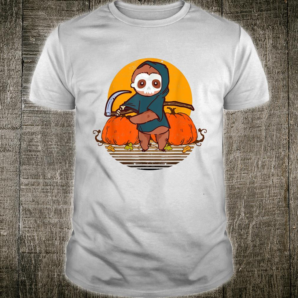 Funny Halloween Sloth Retro Sunset Pumpkin Scary Animal Shirt