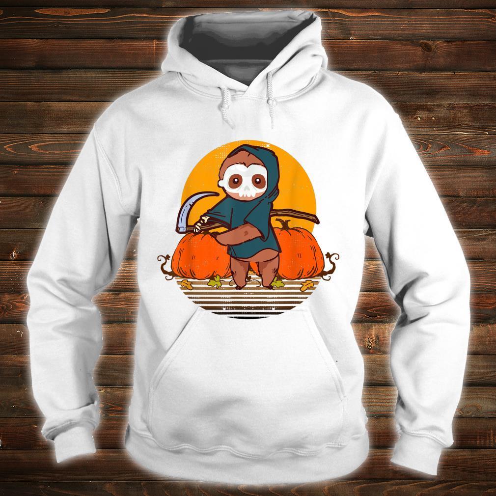 Funny Halloween Sloth Retro Sunset Pumpkin Scary Animal Shirt hoodie