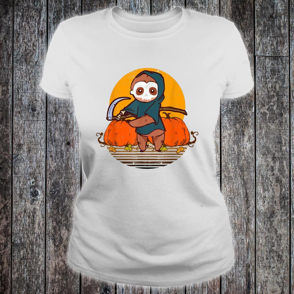 Funny Halloween Sloth Retro Sunset Pumpkin Scary Animal Shirt ladies tee
