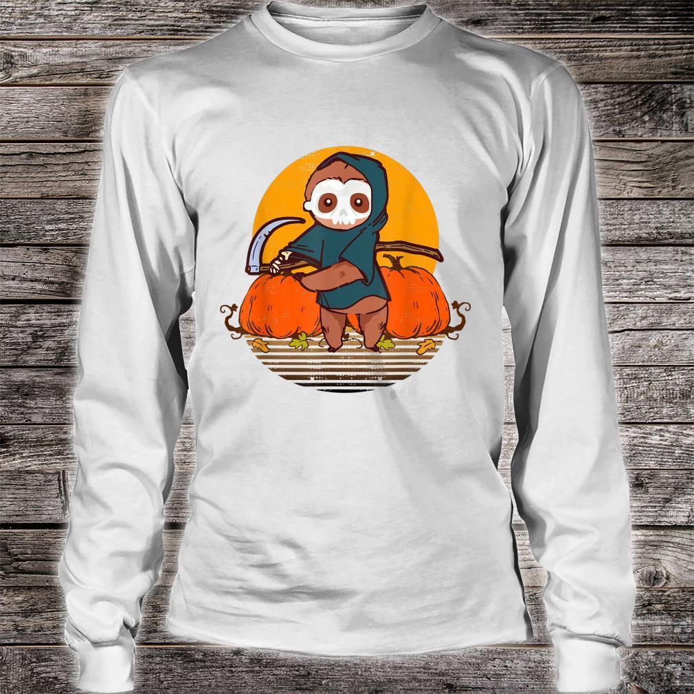 Funny Halloween Sloth Retro Sunset Pumpkin Scary Animal Shirt long sleeved