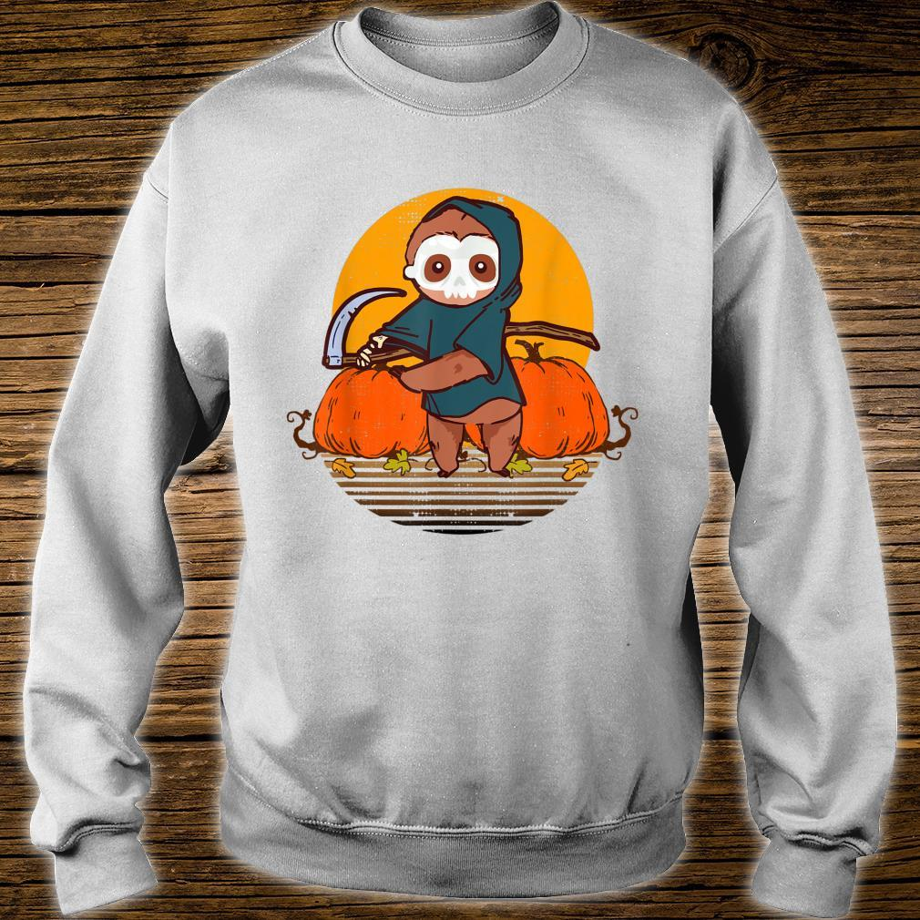 Funny Halloween Sloth Retro Sunset Pumpkin Scary Animal Shirt sweater