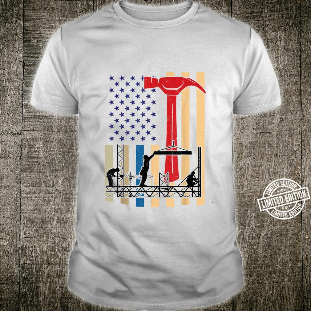 Funny Patriotic American USA Flag Ironworker and Tools Shirt