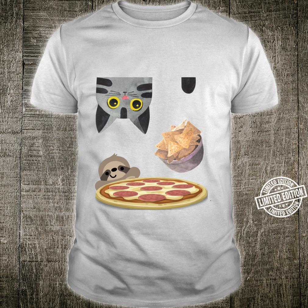 Funny Upside Down Hungry Cat Falling Chips Sloth Peek Pizza Shirt