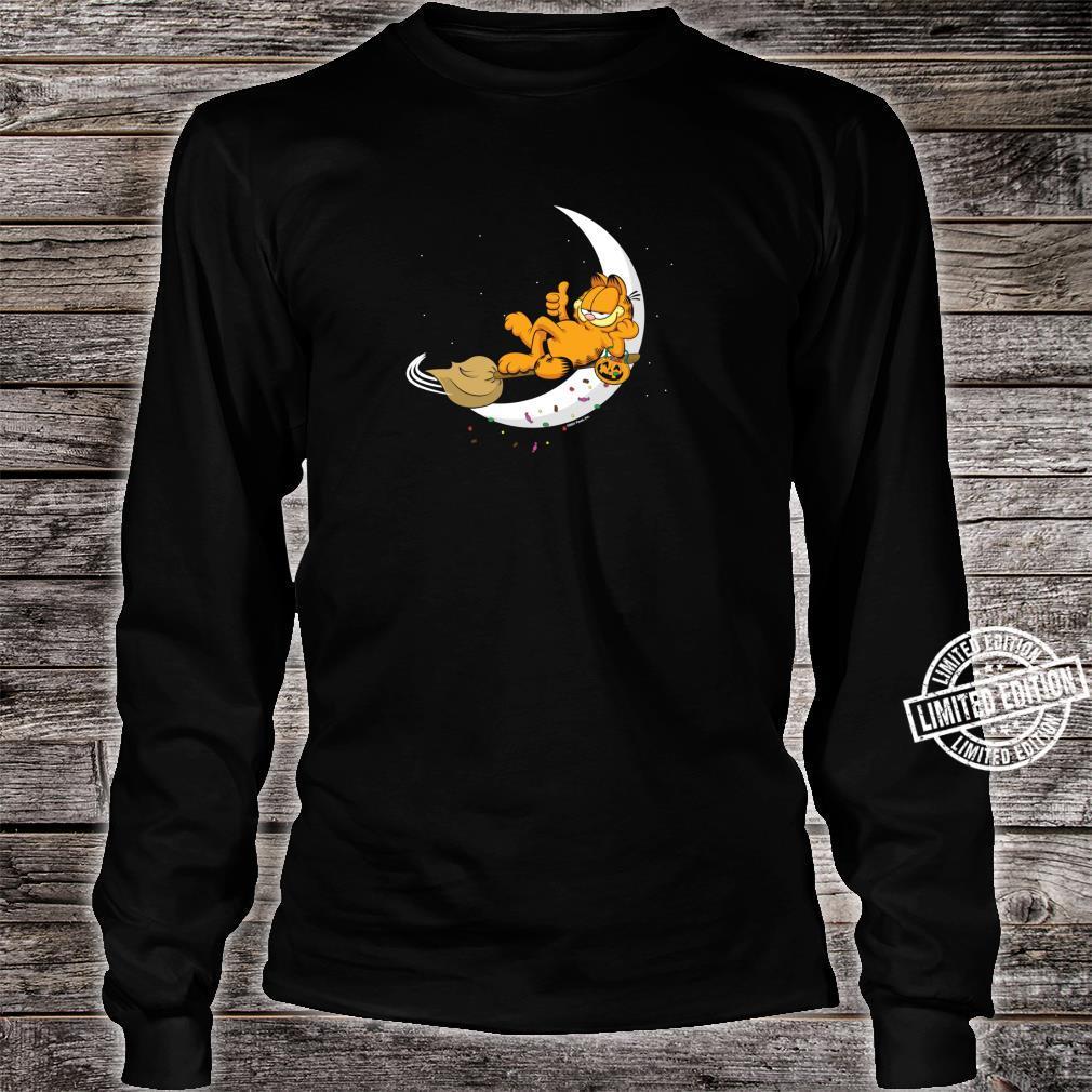 Garfield Halloween Crescent Moon Broom Riding Garfield Shirt long sleeved
