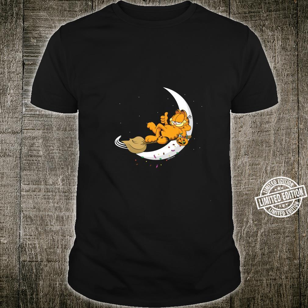 Garfield Halloween Crescent Moon Broom Riding Garfield Shirt