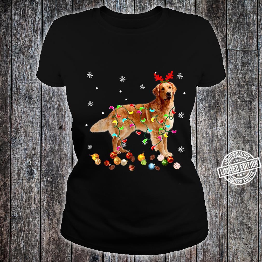 Golden Retriever Christmas Lights Xmas Dog Shirt ladies tee