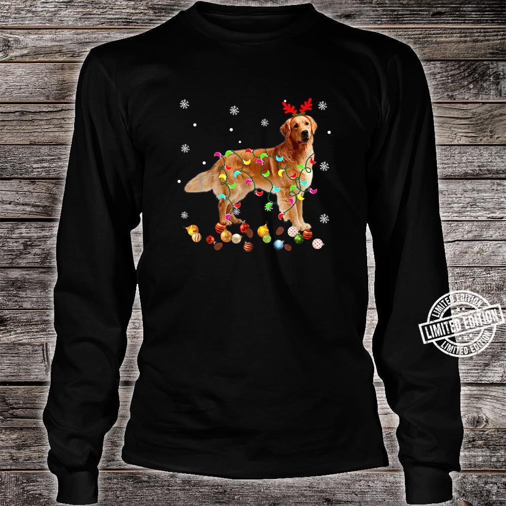 Golden Retriever Christmas Lights Xmas Dog Shirt long sleeved