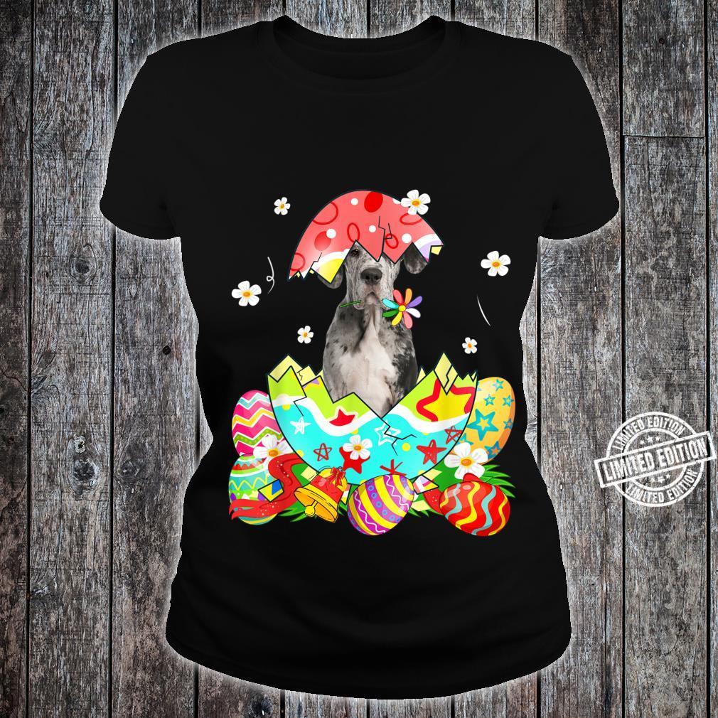 Happy Easter Cute Dane Egg Dog Shirt ladies tee
