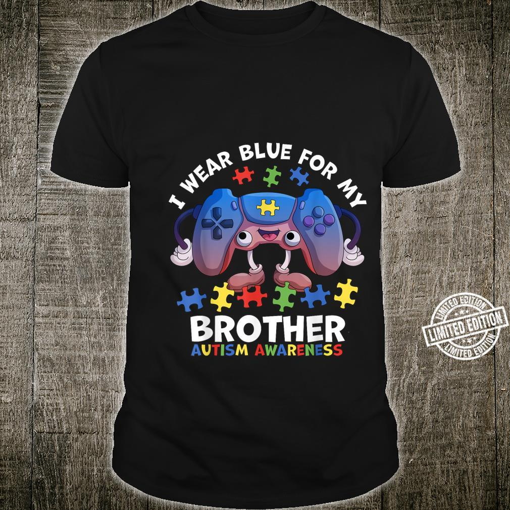 I Wear Blue For My Brother Autism Awareness Boys Video Game Shirt