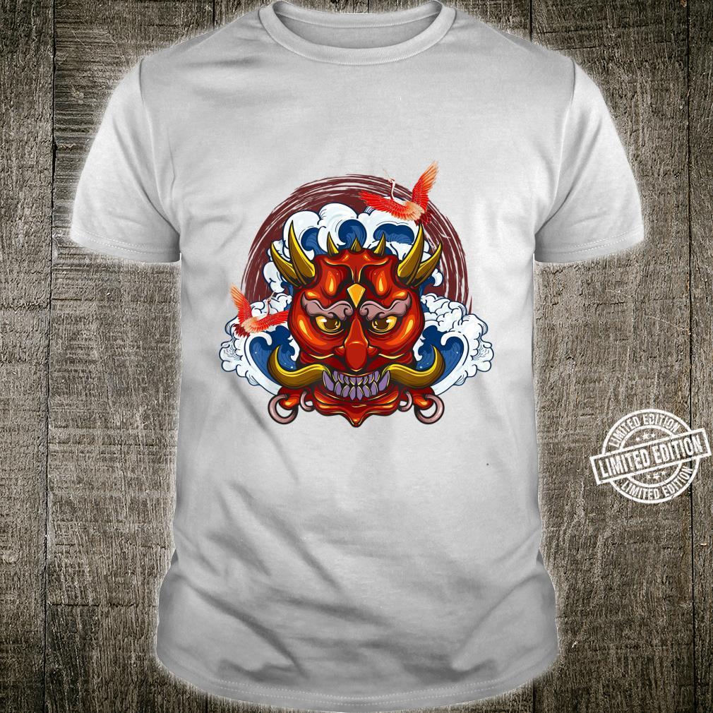 Japanese Wave Demon Red Samurai Oni Mask Ogre Kanagawa Shirt