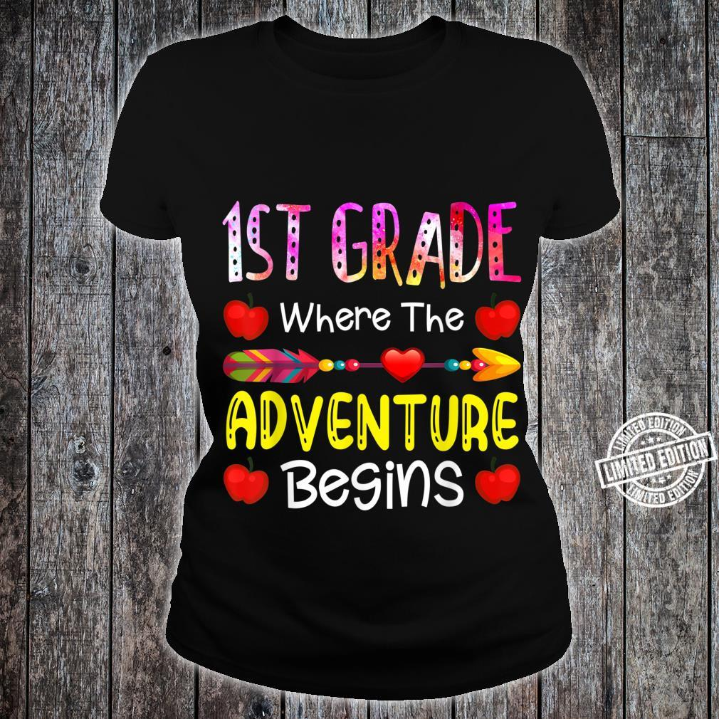 Kids First Grade Where The Adventure Begins Shirt ladies tee