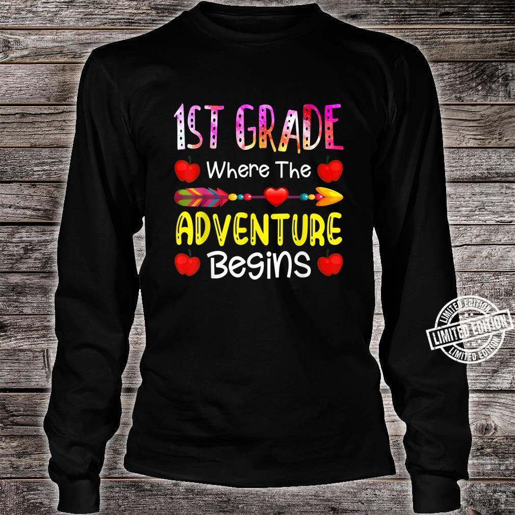 Kids First Grade Where The Adventure Begins Shirt long sleeved
