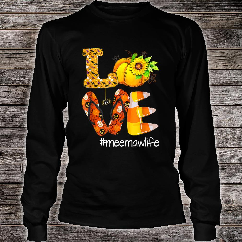 Love Meemawlife Pumpkin Flip Flops Meemaw Life Halloween Shirt long sleeved