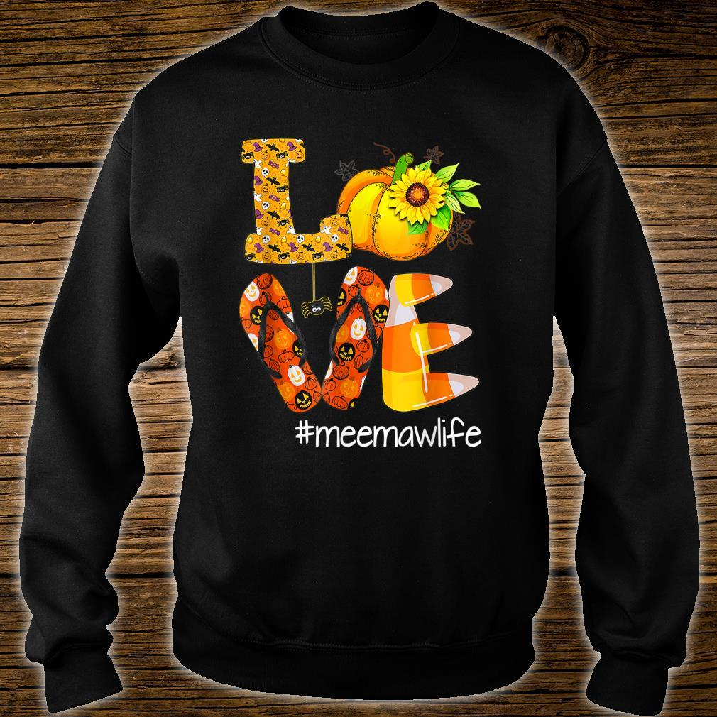 Love Meemawlife Pumpkin Flip Flops Meemaw Life Halloween Shirt sweater