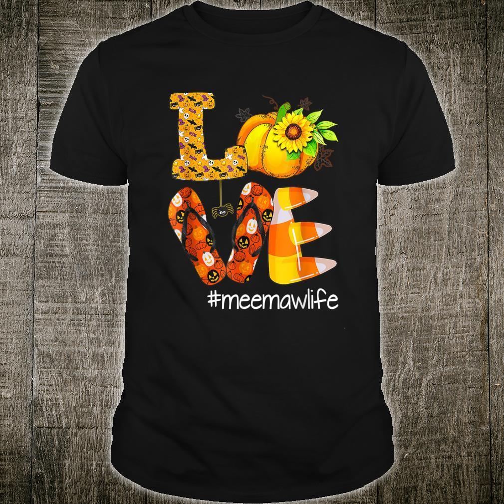 Love Meemawlife Pumpkin Flip Flops Meemaw Life Halloween Shirt