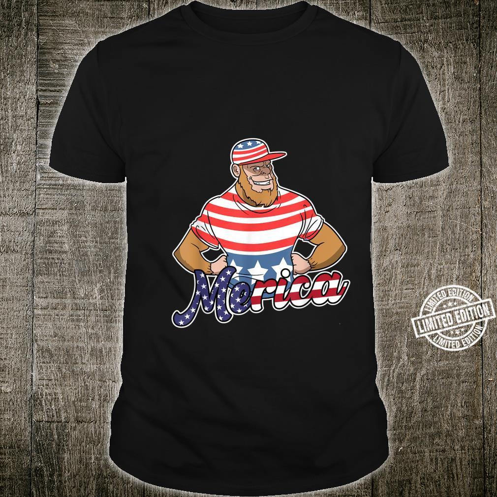 Merica Bigfoot USA Flag 4th Of July Fourth Patriotic Shirt