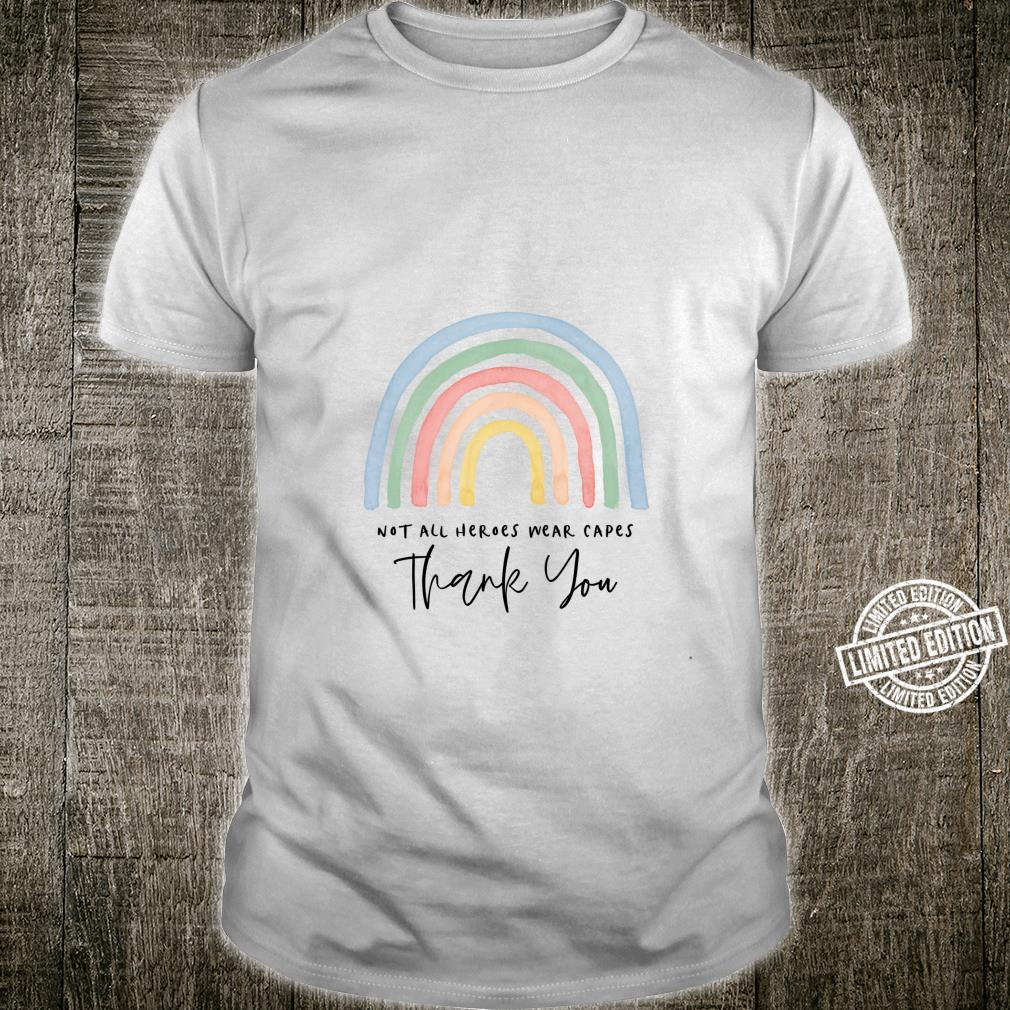 Modern cute kindness thank you watercolor rainbow teacher Shirt